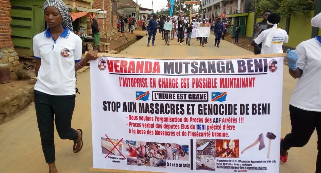 La Véranda Mutsanga dans les rues de Beni pour décrier les massacres