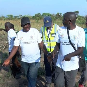 RDC/Zambie : pose des bornes géodésiques à la frontière